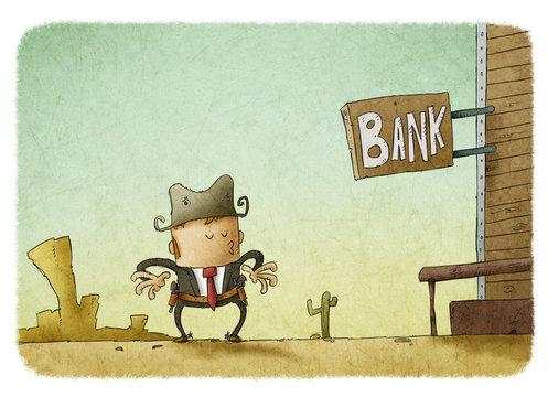 Businessman with guns standing near bank