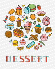 Cute collection of hand drawn sweets and desserts
