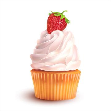 Strawberry cupcake on white. Vector illustration.
