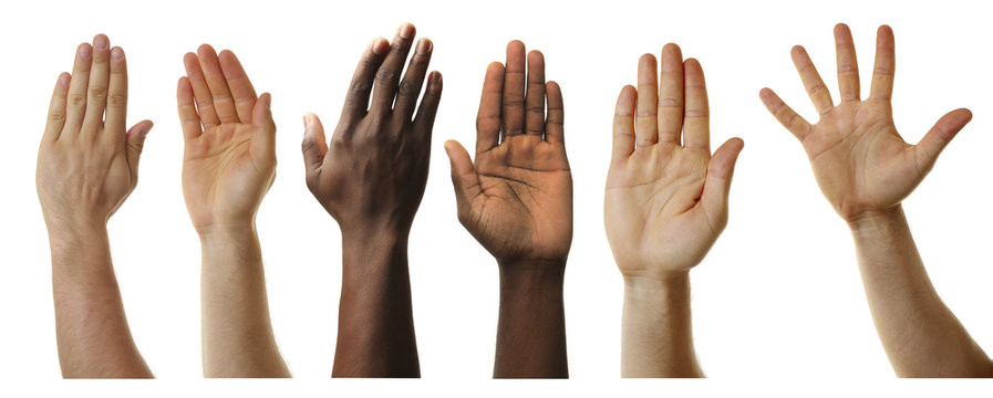 Set of raised hands, isolated on white