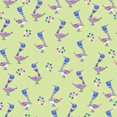 Abstract colorful birds seamless pattern on green background.