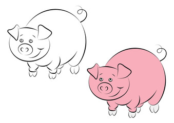 Illstration of the cheerful and smiling pink pig for the childrens book