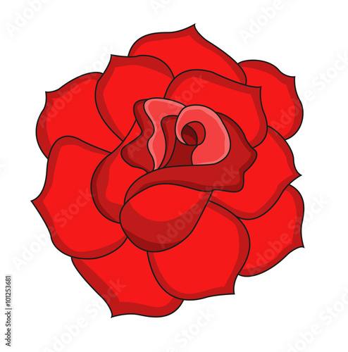 A Red Rose Vector Isolated On White Una Rosa Rossa Vettoriale