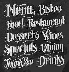 Hand drawn lettering for restaurant menu boards