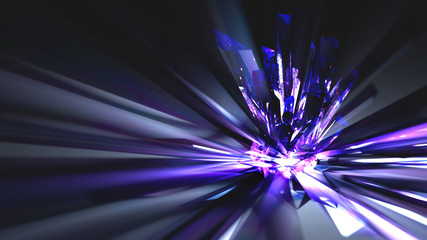 Crystal Refraction Abstract Background  A crystal cluster sends beams of blue and violet light out in fractals and refractions...
