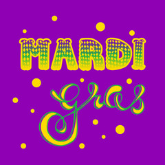Mardi gras. Vector hand lettering. greeting card Mardi gras.