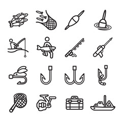 Fishing icons set. Vector eps 10.