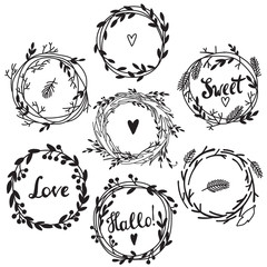 Set of cute retro flower wreath perfect for wedding invitations and birthday cards. Floral Frame Collection.