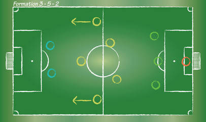 Football field. Soccer strategy formation 3-5-2