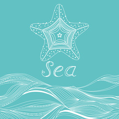 Vector banner with waves, starfish and place for your text