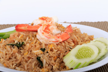 Fried Rice with Shrimp and Vegetables on White Plate and White Background, Thai cuisine