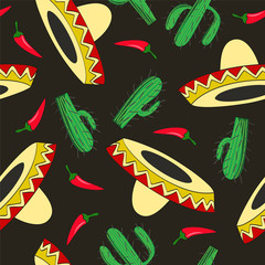 seamless vector background with Mexican symbols sombrero hat, cactuses and chili pepper