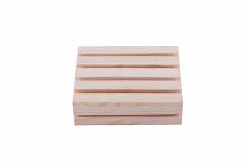 small wooden model crate isolated on white background