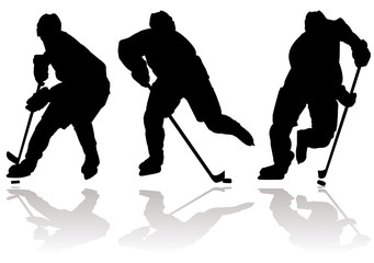 Three ice hockey silhouettes and sport icons