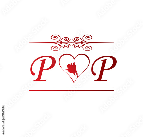 """PP love initial with red heart and rose"" Stock image and ..."
