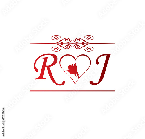RJ Love Initial With Red Heart And Rose