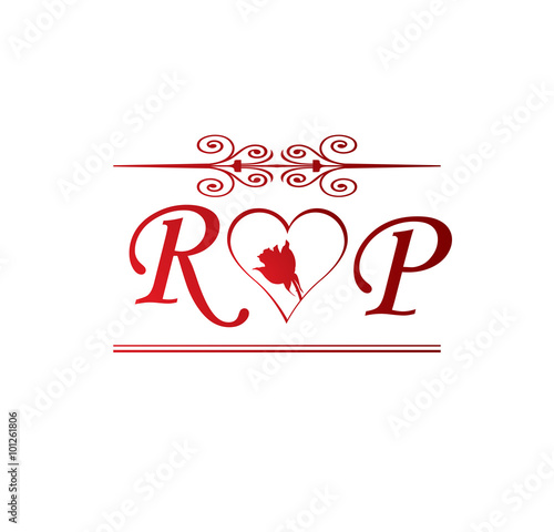 Rp Love Initial With Red Heart And Rose Stock Image And Royalty