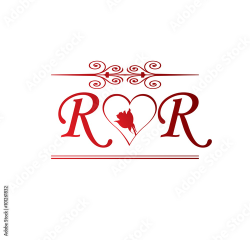 quotrr love initial with red heart and rosequot stock image and