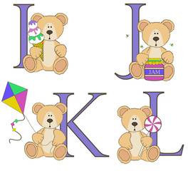 Teddy bear alphabet i j k l with illustrations