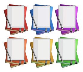 Blank paper on different color books