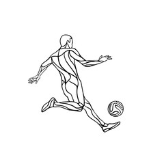 Football or soccer player black and white silhouette with ball