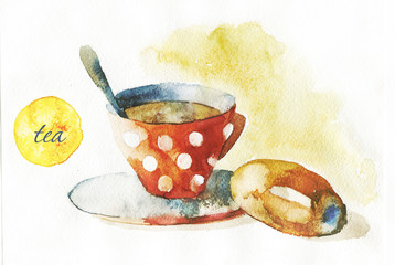cup of tea and a donut watercolor