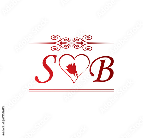 "SB love initial with red heart and rose"" Stock image and royalty-free ..."