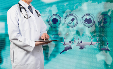 Doctor working with tablet on medical concept
