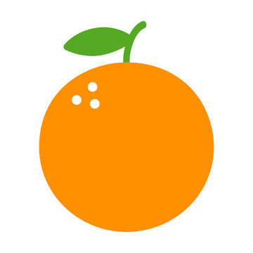 Orange citrus fruit flat color icon for food apps and websites
