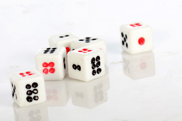 toy dices on white background ,selective focus