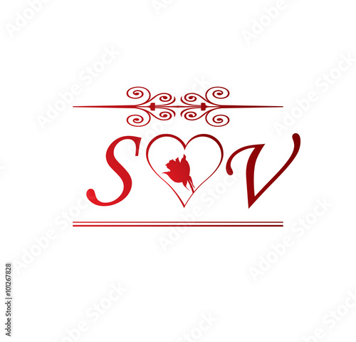 Sv Love Initial With Red Heart And Rose Stock Image And Royalty