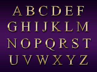 Golden alphabet on a purple background