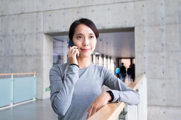 Young woman make a call
