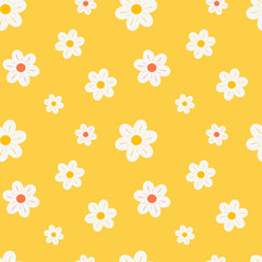 colorful orange white and yellow daisy flowers seamless vector pattern background illustration