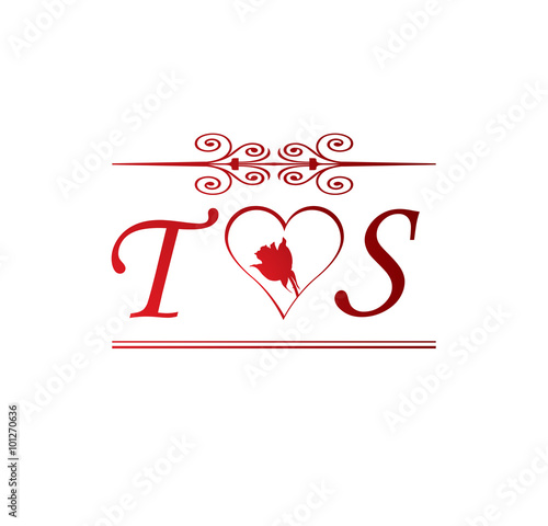 TS Love Initial With Red Heart And Rose
