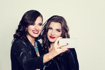 Friends Making Selfie. Beautiful Young Women Making Selfie