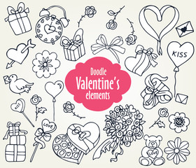 Cartoon vector elements for Valentine's Day