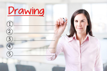 Business woman writing blank Drawing list. Office background.