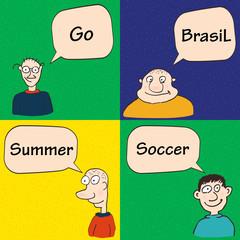 Guys talking about soccer in Brasil.
