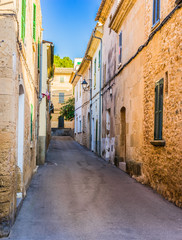 Wall Mural - Idyllic view of a old village street with rustic buildings