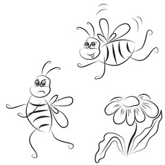 outline drawing of bees