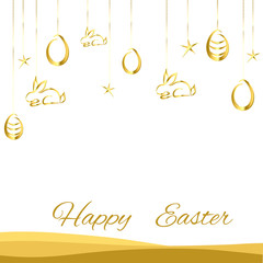 Easter background gold on white