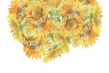 Retro floral card watercolor