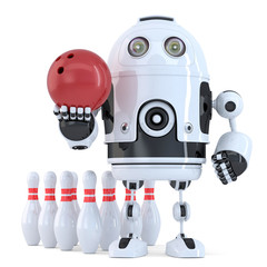 Robot playing bowling. Isolated. Contains clipping path