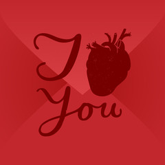 i love you. human heart sign. envelope background.