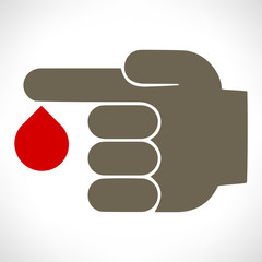 Blood donation. Silhouette of hand giving blood drop.