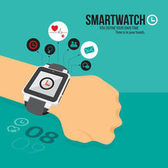 smart watch vector background, icon app