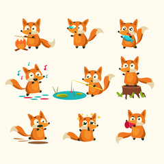 Fox Activities with different emotions. Vector Illustration Set