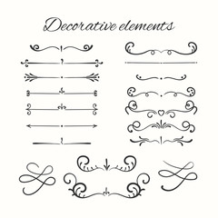 Hand drawn divders set. Ornamental decorative elements.