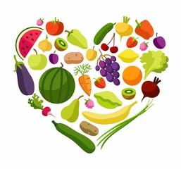 Fruits, vegetables, heart, coloured illustrations.